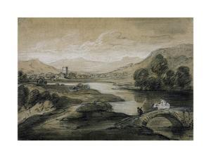 Upland Landscape with River and Horsemen Crossing a Bridge by Thomas Gainsborough