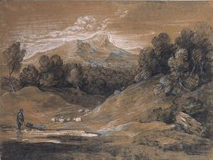 Upland Landscape with Shepherd, Sheep and Cattle, C.1783 by Thomas Gainsborough