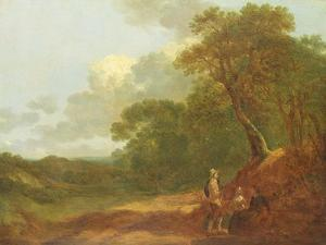 Wooded Landscape with a Man Talking to Two Seated Women by Thomas Gainsborough