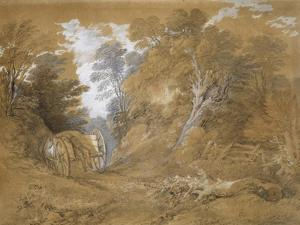 Wooded Landscape with a Peasant Boy Asleep in a Cart (Watercolour and Bodycolour over Faint Indicat by Thomas Gainsborough