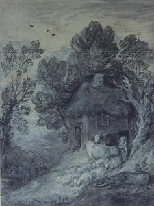 Wooded Landscape with Cottage, Peasant, Cows and Sheep, and Cart Travelling Down a Slope, 1777-78 by Thomas Gainsborough