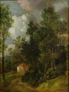 Wooded Landscape with Country House and Two Figures, C.1752 by Thomas Gainsborough
