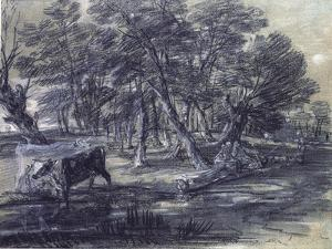 Wooded Landscape with Figures and Cattle at a Pool, C.1778 by Thomas Gainsborough
