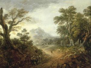 Wooded Landscape with Figures, Bridge, Donkeys, Distant Buildings and Mountain by Thomas Gainsborough