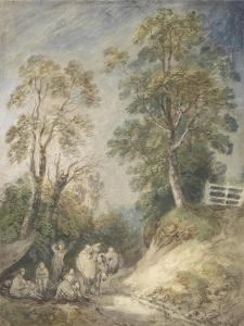 Wooded Landscape with Gypsy Encampment, C.1760-65 (W/C and Gouache over Pencil and Chalk on Paper) by Thomas Gainsborough