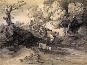 Wooded Landscape with Herdsman and Cattle, C.1775 by Thomas Gainsborough