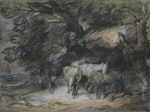 Wooded Landscape with Peasant Asleep and Horses Outside a Shed by Thomas Gainsborough
