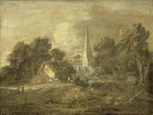 Wooded Landscape with Village Scene, Early 1770-72 by Thomas Gainsborough