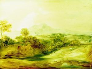 Wooded River Landscape with Figures on a Bridge, C.1783-4 (Paint on Glass) by Thomas Gainsborough