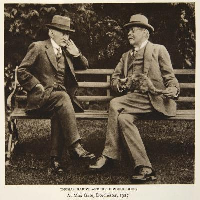 Thomas Hardy and Sir Edmund Gosse at Max Gate, Dorchester, 1927--Photographic Print