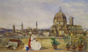 A Terrace Overlooking Florence from the Via Di Servi by Thomas Hartley Cromek