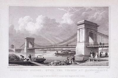 Hammersmith Bridge with Water Vessels on the River Thames, Hammersmith, London, 1828 by Thomas Higham