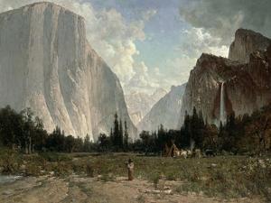 Bridal Veil Falls, Yosemite, C.1870-84 by Thomas Hill