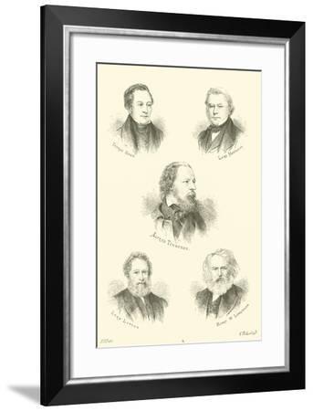 Thomas Hood, Lord Macaulay, Alfred Tennyson, Lord Lytton, Henry W Longfellow--Framed Giclee Print