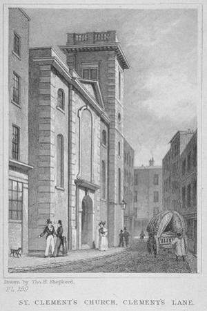 Church of St Clement, Eastcheap, City of London, 1831 by Thomas Hosmer Shepherd