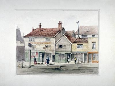 The Hare and Hounds Inn and Shopfronts on Upper Street, Islington, London, C1835