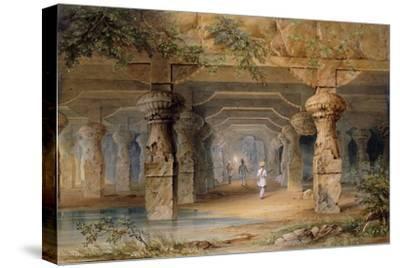 The Interior of the Great Cave, Elephanta, Bombay, 19th Century (Pencil, W/C)