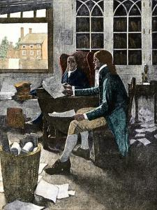 Thomas Jefferson Reading His Rough Draft of the Declaration of Independence to Ben Franklin, c.1776