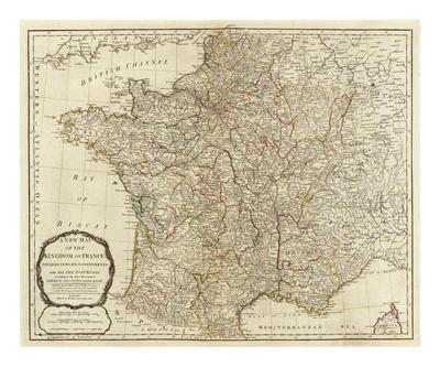 New Map of the Kingdom of France, c.1790