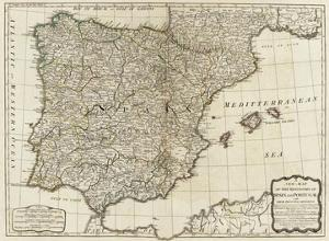 New Map of the Kingdoms of Spain and Portugal, c.1790 by Thomas Kitchin