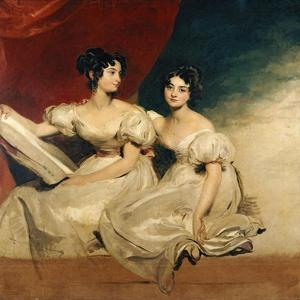 A Double Portrait of the Fullerton Sisters, Seated Full Length, in White Dresses, C.1825 by Thomas Lawrence