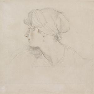 Mrs Jens Wolff (Black Chalk, Touched with Red Chalk on Thin Laid White Paper, Laid on Japan Paper) by Thomas Lawrence