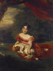 Portrait of Miss Julia Beatrice Peel Seated Full Length Wearing a Pink Dress with a Sash and… by Thomas Lawrence