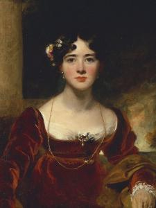 Portrait of Mrs. John Allnutt, Seated Half-Length in a Crimson Velvet Dress, Brown Shawl and Gold… by Thomas Lawrence