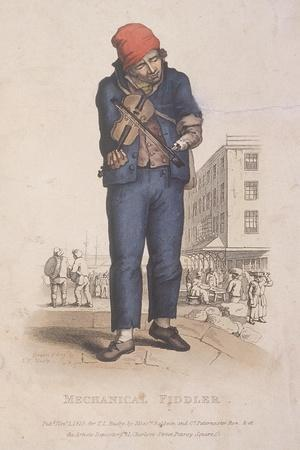 Fiddler with a Prosthetic Arm, with a Market in the Background, 1820