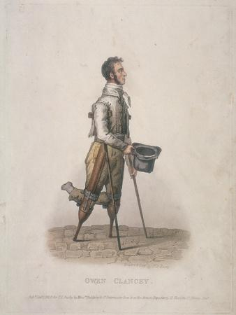 Owen Clancy, Begging with His Hat in Hand, on Crutches and with Devices Strapped to His Legs, 1820