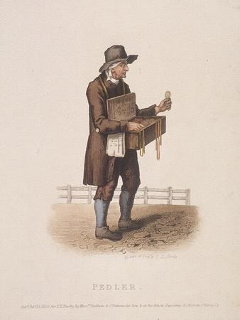 Pedlar with His Box of Wares Hung around His Neck, 1820