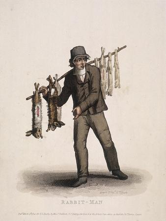 Rabbit Seller Carrying a Pole Hung with Rabbits, 1820