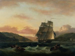 A Brigantine in Full Sail in Dartmouth Harbour by Thomas Luny