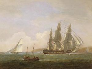 A Frigate Running under Full Sail, with a Cutter and a Lugger Off the West Country by Thomas Luny