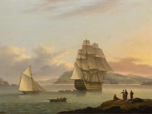 A Ship of the Line Off Plymouth, 1817 by Thomas Luny