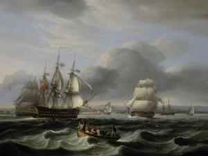 British Men of War and Other Shipping off Portsmouth Harbour, 1829 by Thomas Luny