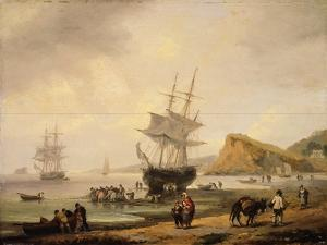 Fishing Scene, Teignmouth Beach and the Ness, 1831 by Thomas Luny