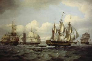 The Ship Castor and Other Vessels in Choppy Sea, 1802 by Thomas Luny