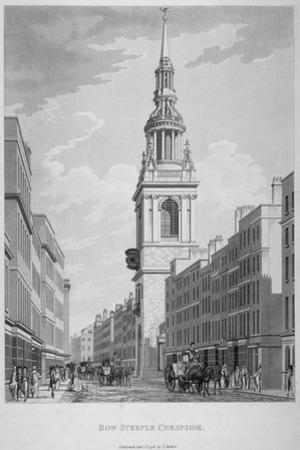 Church of St Mary-Le-Bow, Cheapside, City of London, 1798 by Thomas Malton II