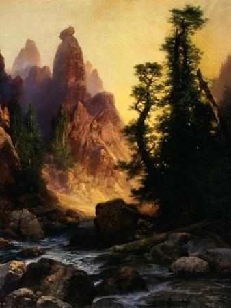 Below the Towers of Tower Falls, Yellowstone Park, 1909 by Thomas Moran