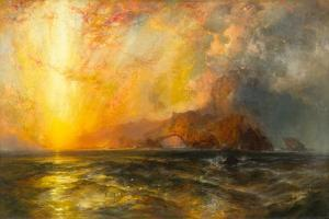 Fiercely the red sun descending/Burned his way along the heavens, 1875-1876 by Thomas Moran
