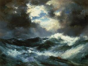 Shipwreck in Stormy Sea at Night by Thomas Moran