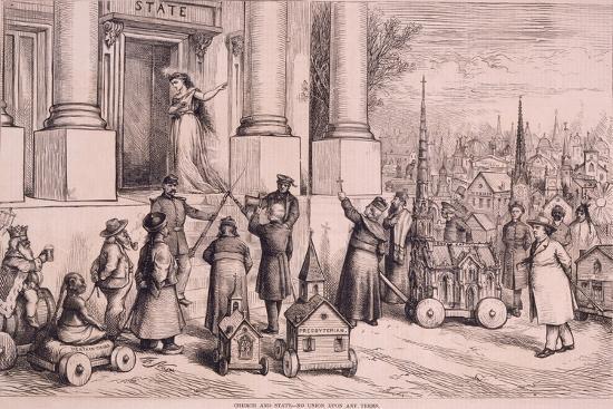 Thomas Nast Cartoon, Shows Priests Threatening the Doorway of the 'State'--Art Print