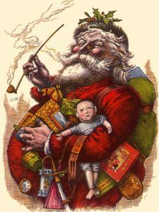 Santa Holds Armful of Toys, 1880 by Thomas Nast