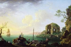 Italian Port Scene (Sunrise) by Thomas Patch