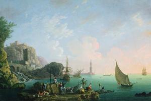Italian Port Scene (Sunset) by Thomas Patch