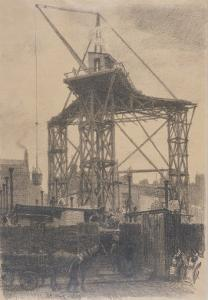The Scotch Crane, Showing a Huge Derrick Crane on a Building Site in the City, c.1904 by Thomas Robert Way