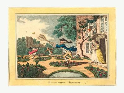 Thomas Rowlandson (British, 1756 1827), Butterfly Hunting, 1806, Hand Colored Etching--Giclee Print