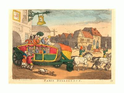 Thomas Rowlandson (British, 1756 1827), Paris Diligence, Probably 1810, Hand Colored Etching--Giclee Print