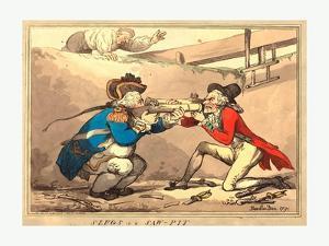 Thomas Rowlandson (British, 1756 1827), Slugs in a Sawpit, 1791, Hand Colored Etching